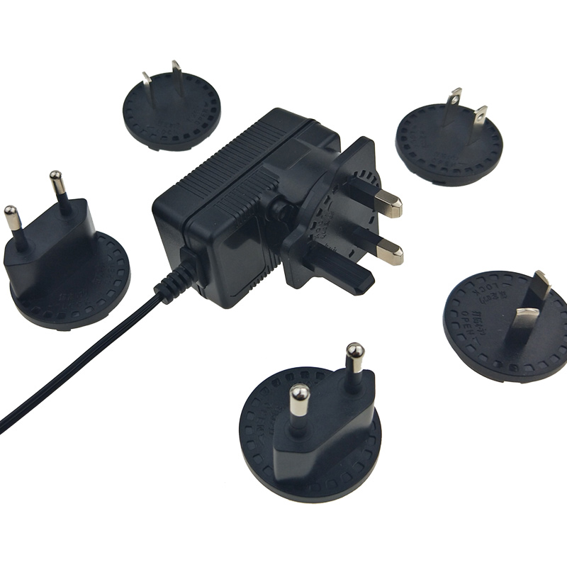 Interchangeable plugs 9v 300ma ac dc adapter